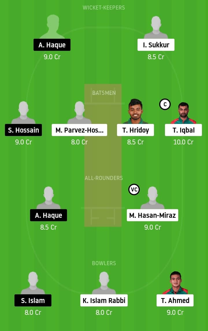 Fortune Barishal vs Gemcon Khulna Dream11 team